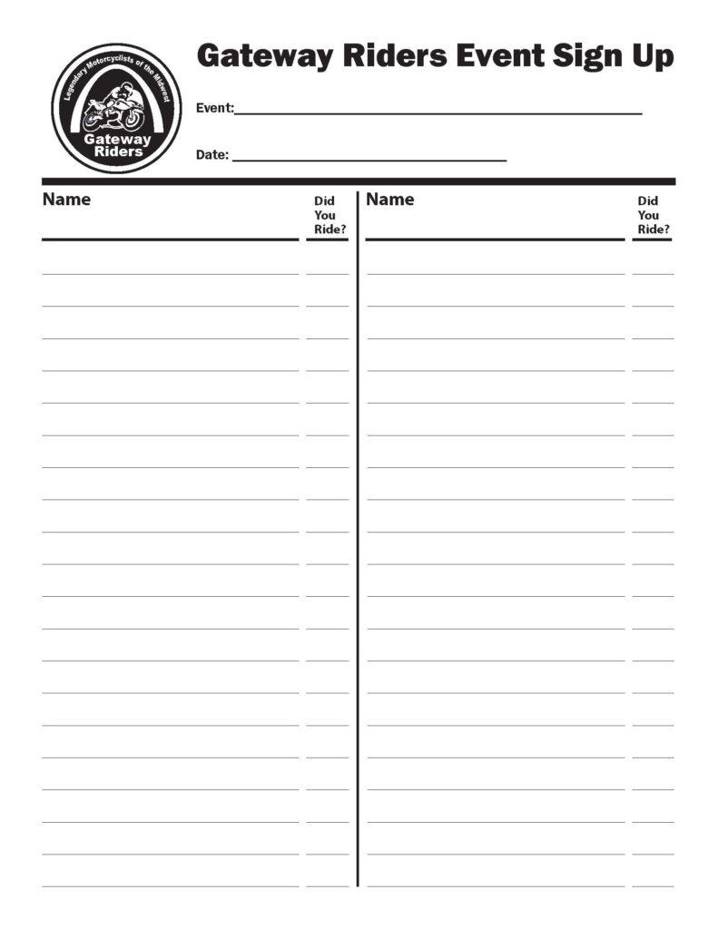 Rider Sign Up Sheet