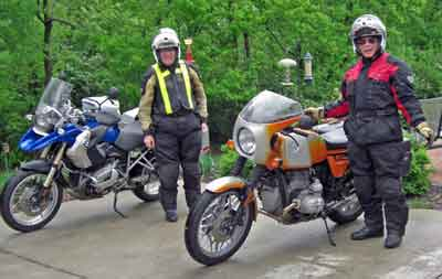 Gateway Riders suiting up to go to another stop on the Progressive Dinner ride.