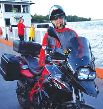 Gateway Rider's Susan Anderson on the Golden Eagle ferry.