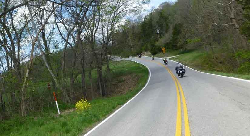Gatway Riders on a club ride in Missouri.