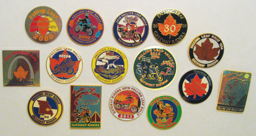 Falling leaf rally pins over the years.